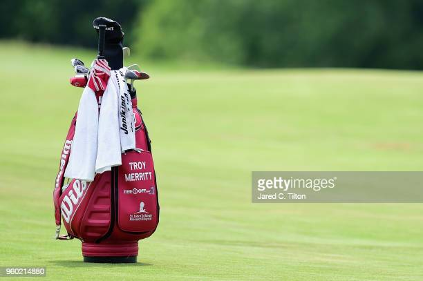 A view of Troy Merritt's golf bag while it sits on the seventh fairway during the third round of the ATT Byron Nelson at Trinity Forest Golf Club on...