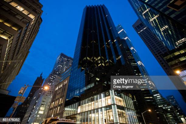 A view of Trump Tower ahead of President Donald Trump's arrival August 14 2017 in New York City Numerous protests are expected throughout the city...