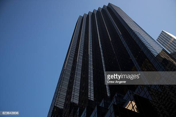 A view of Trump Tower on 5th Avenue November 16 2016 in New York City Trump is in the process of choosing his presidential cabinet as he transitions...