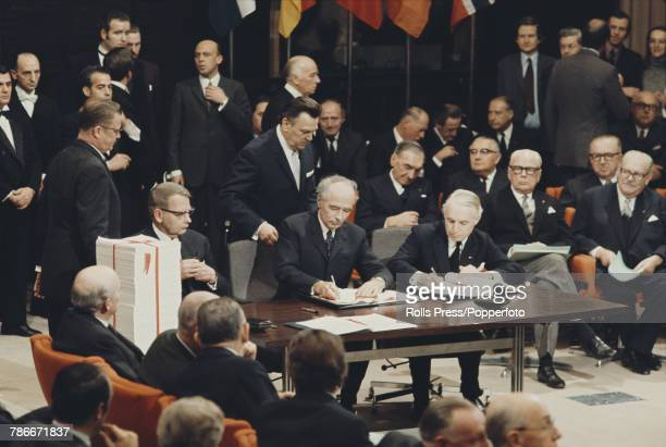 View of Trygve Bratteli Prime Minister of Norway signing the accession treaty for Norway to join the European Economic Community at the Egmont Palace...