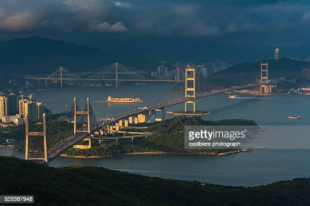 View of Tsingma bridge from Lantau island