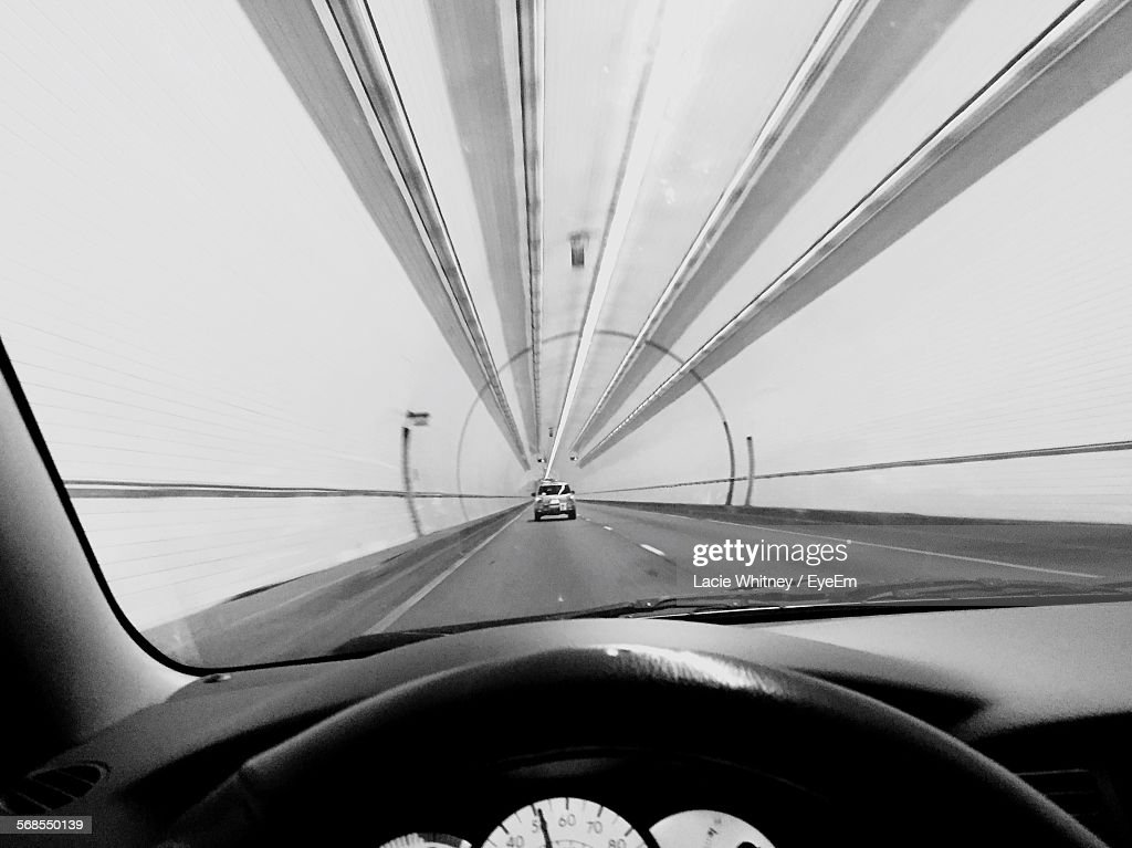 View Of Tunnel Seen From Car Windshield : Stock Photo