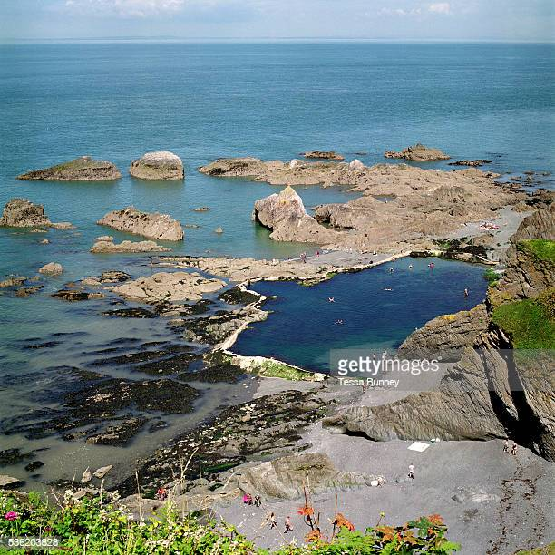 View of tunnels beach Tidal Pool from Beacons Castle Ilfracombe Devon UK Until the 1950s and the rise of the heated indoor swimming pool children...