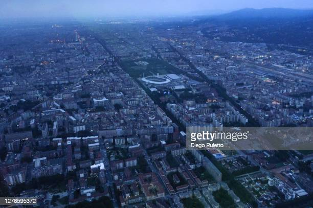 view of turin from the helicopter - puletto diego stock pictures, royalty-free photos & images