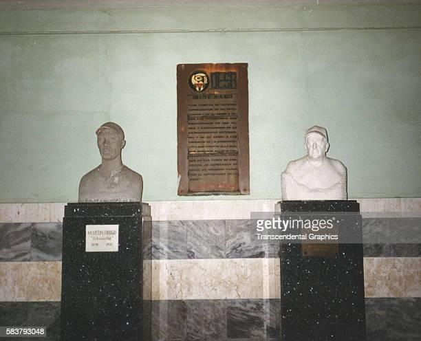 View of two busts, of baseball players Martin Dihigo and Aldofo Luque, on the promenade of Estadio Latinoamericano, Havana, Cuba, 1997.