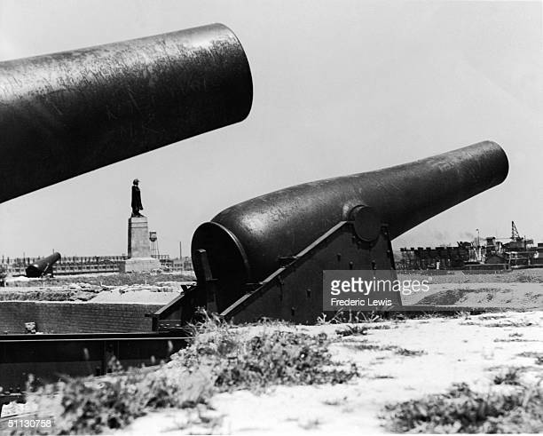 View of two cannons at Fort McHenry in Baltimore Maryland 1950s American troops defended the coast against British forces in the Battle of Baltimore...