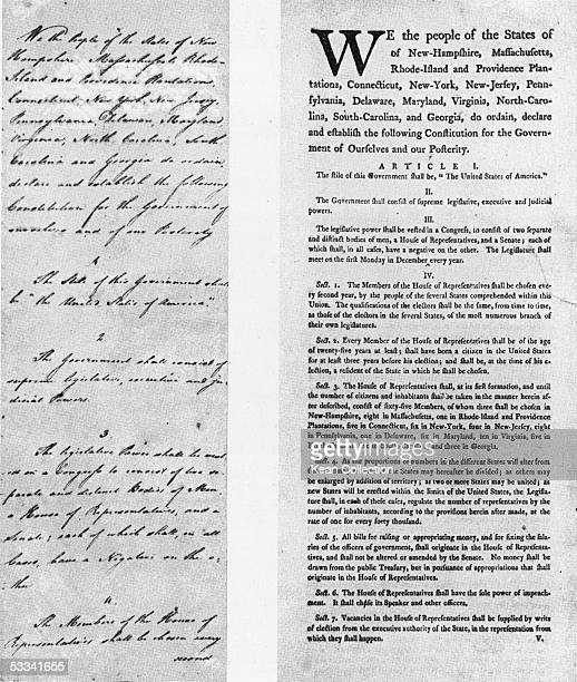 View of two drafts of the Constitution of the United States of America, 1787. On the left is James Wilson's handwritten draft with ammendments by...