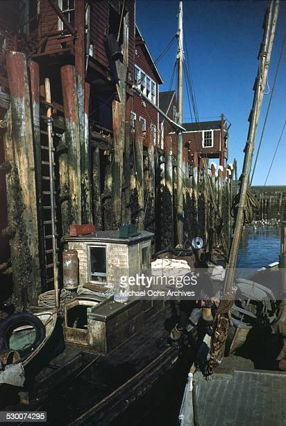 A view of two fishing boats moored to the pier in Lubec Maine