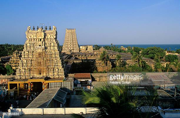 View of two gopurams or towers of the Ramanatha Swamy Temple