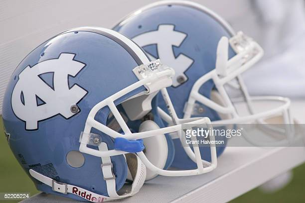 View of two North Carolina Tar Heels helmets during the game against the North Carolina State Wolfpack on October 9, 2004 at Kenan Stadium Stadium in...