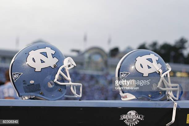 A view of two North Carolina Tar Heels helmets during the game against the North Carolina State Wolfpack on October 9 2004 at Kenan Stadium Stadium...