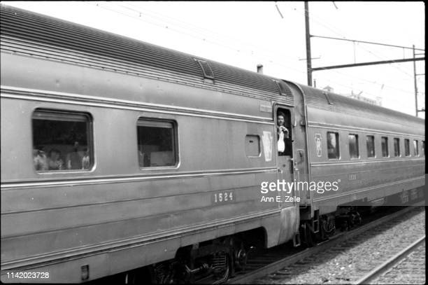 View of two of the 21 cars of Robert F Kennedy's funeral train, Elizabeth, New Jersey, June 8, 1968. The train carried Senator Kennedy's family and...