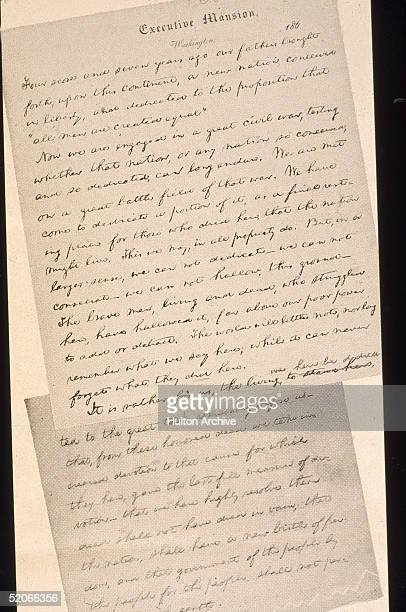 View of two pages of a reproduction of a early draft of American President Abraham Lincoln's Gettysburg address which was delivered after several...