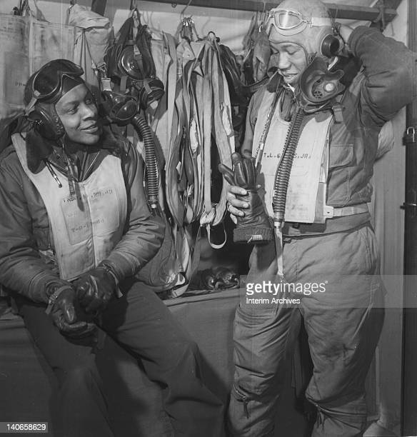 View of two pilots of the 332nd Fighter Group which made up a part of the famed Tuskegee Airmen in Ramitelli Italy March 1945
