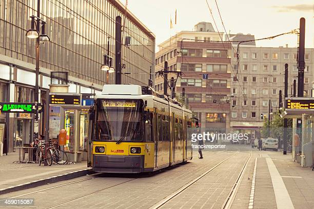 view of u-bahn yellow tram parked on the gontardstrasse - u bahn stock pictures, royalty-free photos & images