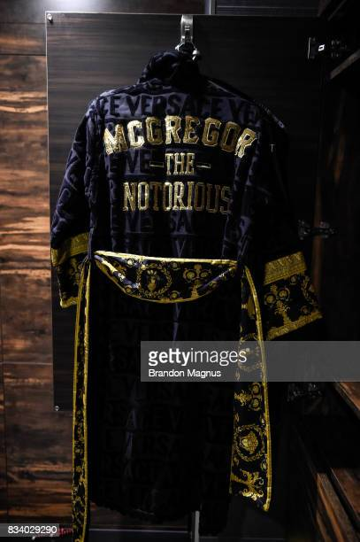 A view of UFC lightweight champion Conor McGregor's Versace robe before a media workout at the UFC Performance Institute on August 11 2017 in Las...