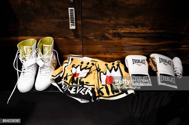 A view of UFC lightweight champion Conor McGregor's workout gear before a media workout at the UFC Performance Institute on August 11 2017 in Las...