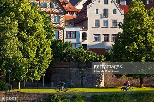 View of Ulm from the banks Danube river in Neu-Ulm, Neu-Ulm, Germany