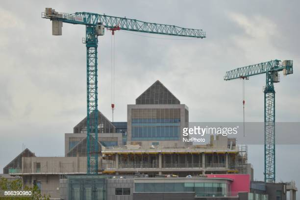 A view of Ulster Bank HQ and cranes over a construction site On Wednesday 25 October 2017 in Dublin Ireland