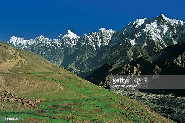 View of Ulter at right, Hunza Peak, Lady finger and Marbel Peak from Hisper glacier Nagar valley, Gilgit Baltistsn, Pakistan