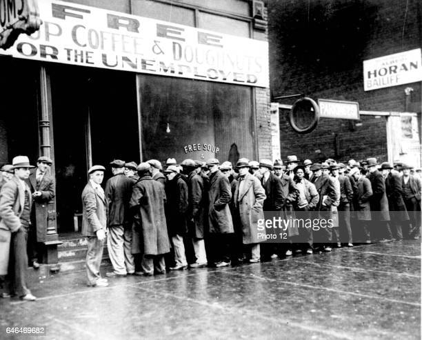 Unemployed men queuing outside a soup kitchen in New York during the Great Depression