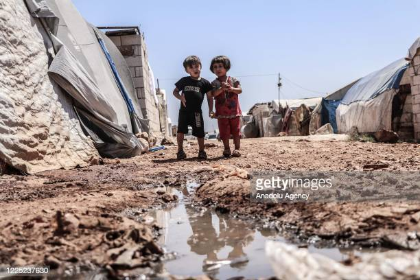 A view of unhealthy living conditions in a refugee camp where Syrian children suffering from leishmaniasis a parasitic disease spread by the bite of...