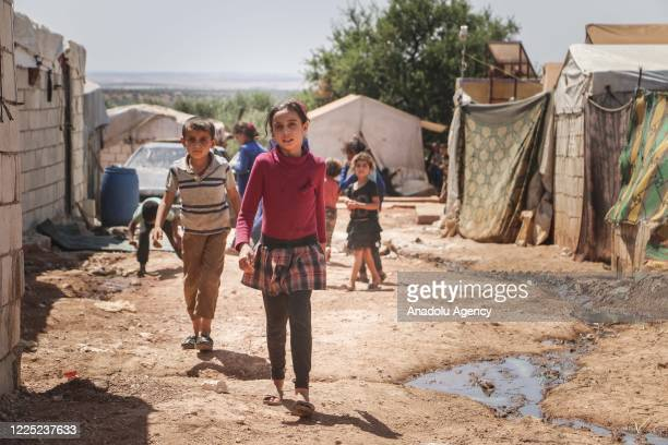 View of unhealthy living conditions in a refugee camp where Syrian children suffering from leishmaniasis, a parasitic disease spread by the bite of...