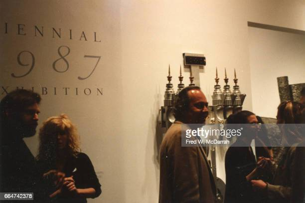 View of unidentified attendees during the Whitney Biennial New York New York April 9 1987