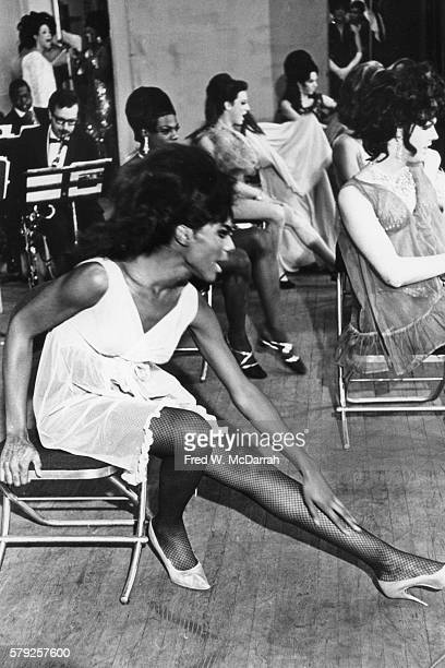 View of unidentified drag performers backstage during a beauty contest New York New York February 20 1967