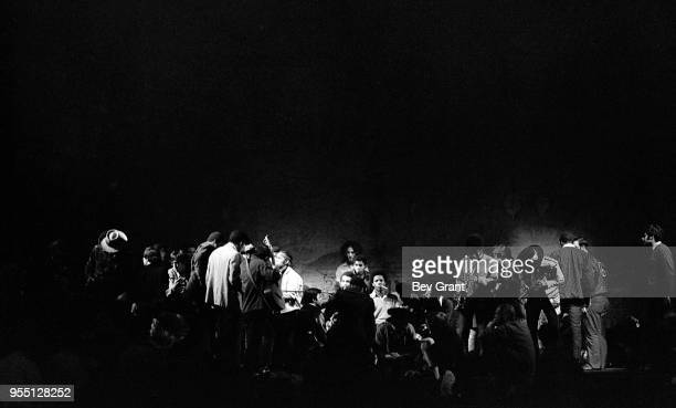 View of unidentified musicians as they perform on stage at the Filmore East during the venue's takeover by anarchist groups the Family and Up Against...