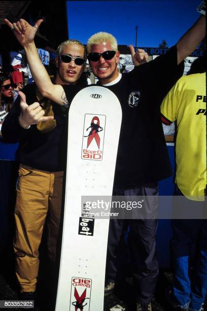 View of unidentified snowboarders at the LifeBeat Board Aid 2 benefit at Big Bear Lake California March 15 1995