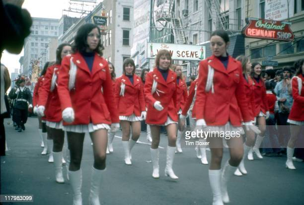 View of uniformed majorettes as they march during the Mardi Gras parade New Orleans Louisiana February 1973