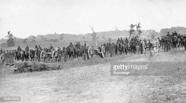 View of Union Army artillery unit Captain Joseph Knap's Pennsylvania Independent Battery 'E' Light Artillery Antietam MD 1862
