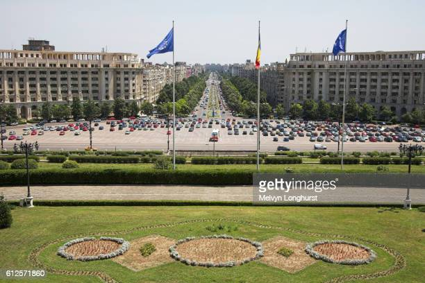 View of Unirii Boulevard, from Palace of Parliament, Peoples Palace, Casa Poporului, Bucharest, Romania
