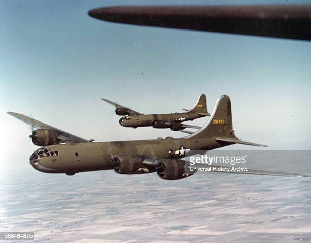 View of United States Army Air Force B-29 bombers in flight, 1943.
