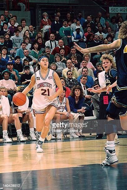 View of University of Connecticut's Orly Grossman as she dribbles up for a jumper against the University of Iowa Gampel Pavilion Storrs CT 1991
