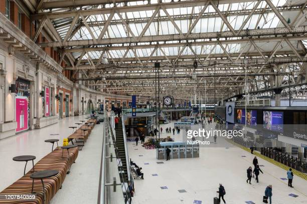 A view of unusually quiet Waterloo train station in London as the Coronavirus pandemic continues to escalate on 20 March 2020 in London England...