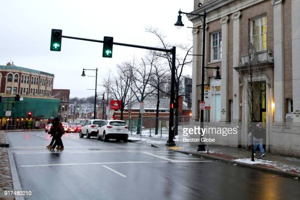 A view of Uphams Corner in Boston is pictured on Jan 17 2018 555 Columbia Road at right is one of the properties being considered for the new Uphams...