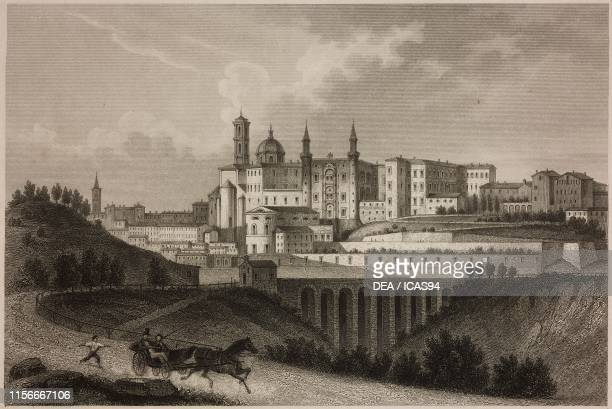 View of Urbino Italy engraving by M Kurz from a drawing by C Martinelli from Letture di famiglia Year VII Trieste