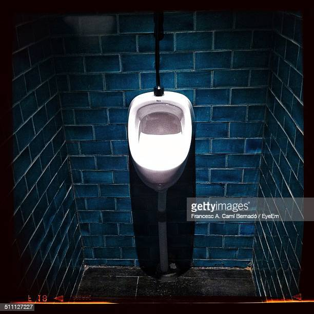 View of urinal on tiled wall