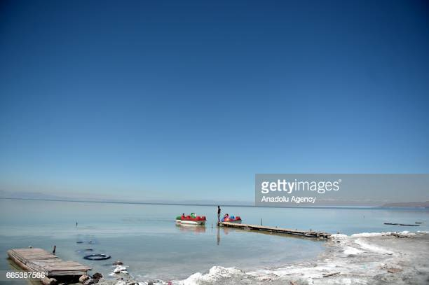 A view of Urmia Lake in Urmia Iran on April 6 2017 Urmia Lake was the largest lake in the Middle East and the sixthlargest saltwater lake on Earth...