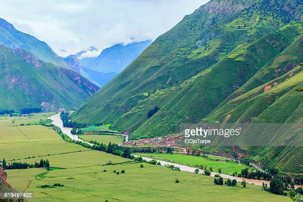 View of Urubamba River and Sacred Valley, near Pisac city, Peru