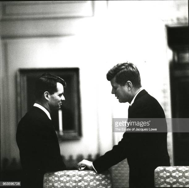 View of US Attorney General Robert F Kennedy and his brother US President John F Kennedy as they talk in the White House Washington DC early 1960s