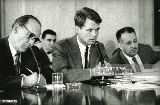 View of US Attorney General Robert F Kennedy as he listens during an unspecified government hearing Washignton DC early 1960s