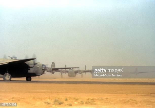 A view of US B 24 Bombers get ready for take off at the US Air Force Base in Benghazi Libya