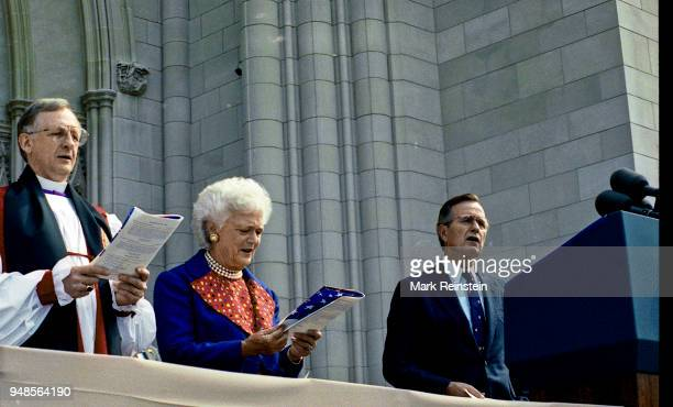 View of US First Lady Barbara Bush and President George HW Bush during the dedication ceremony of the National Cathedral, Washington DC, September...