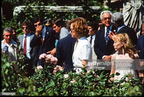 View of US First Lady Rosalynn Carter and her daughter Amy in a rose garden while on a State Visit Rome Italy June 1980