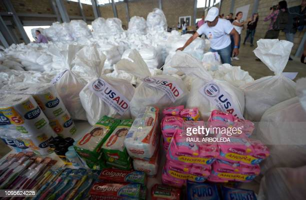 View of US humanitarian aid goods in Cucuta Colombia on the border with Tachira Venezuela on February 8 2019 Venezuelan military officers blocked a...