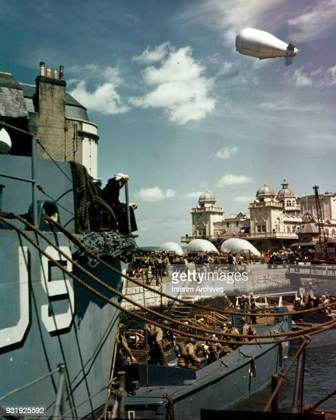 View of US military vessels in Weymouth Harbour during preparations for the Normandy invasions, Weymouth, Dorset, England, May 1, 1944. Visible in...