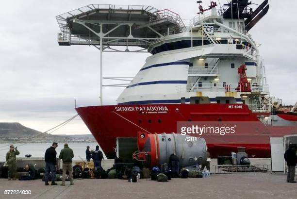 View of US Navy Undersea Rescue Command waiting to board the Skandi Patagonia vessel on the harbour of Comodoro Rivadavia Chubut on November 21 2017...